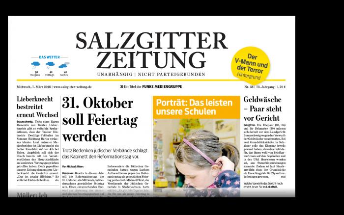 Die gedruckte Ausgabe der Salzgitter-Zeitung.